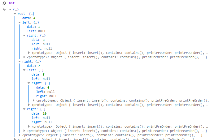 console.log of a Binary Search Tree in Javascript