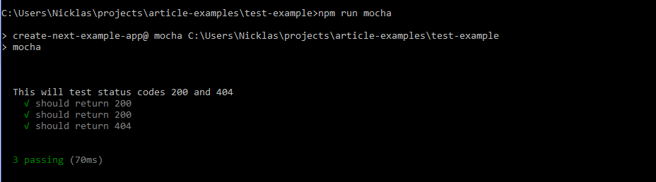 Mocha Nextjs result in Windows console